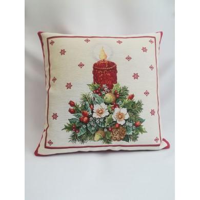 Poszewka świąteczna, gobelin łączony z aksamitem