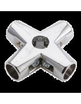 Złącze czteroramienne do rury 25 mm aluminium chromowane