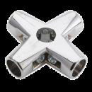 SHOP-LINE Złącze czteroramienne do rury 25 mm aluminium chromowane TR584-0-CHR
